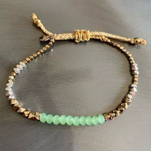 Stella & Dot gold, silver and green slide bracelet